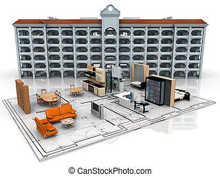 3D model of an apartment floor plan