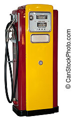 Vintage: old gas station isolated on a white background