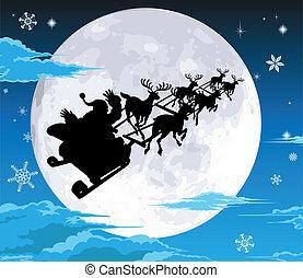 Santa in sled silhouette against full moon - Santa in his...