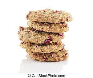 cookies with cranberry on white background