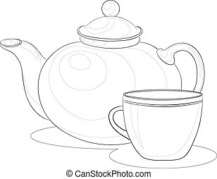 Teapot and cup, contours - Vector, china teapot and cup,...