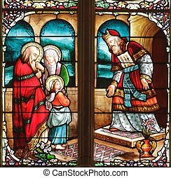 19th century stained glass window in Uzeste church, France
