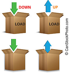Download and Upload boxes - Vector set of Download and...