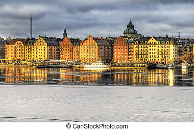 Kungsholmen, Stockholm in winter. - Winter image of sunlit...