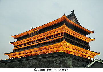 illuminated Xi'an bell tower