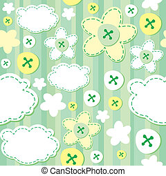 green seamless pattern - cute seamless pattern with flowers...
