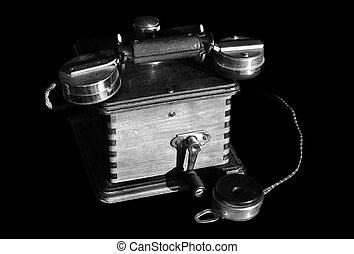 Vintage telephone, black and white photography