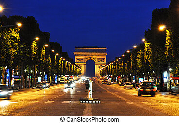 The Champs-Elysees at night, Paris - The Champs-Elysees at...