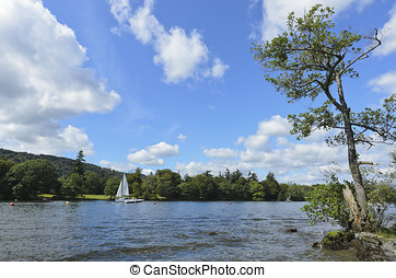 Lake Windermere - View of Lake Windermere and mountains from...