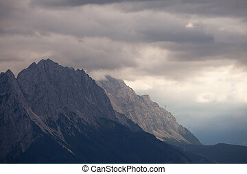 zugspitze late one afternoon with clouds