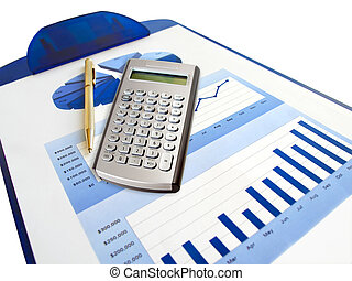 Pen. - Pen, calculator and investment chart on the...
