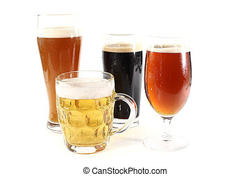 beers - four different types of beer on a white background