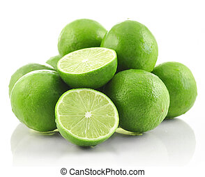 lime fruits on white background