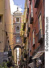naples - old buildings and historic center of Naples, Italy