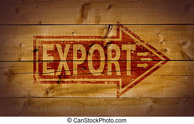 Export stamp on wooden background