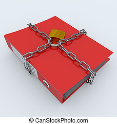Folder closed by a chain and padlock