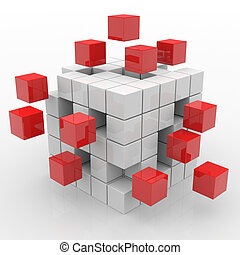 Cube assembling from blocks Computer generated image