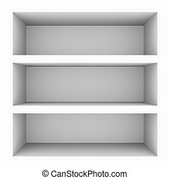 Empty white bookshelf isolated on white Computer generated...