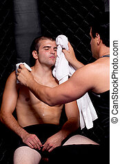 Mixed martial artist with corner man