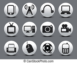 abstract electronic web icon set vector illustration