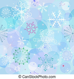 Seamless winter wallpaper with chaotic snowflakes and balls...