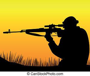 sniper - silhouette of a sniper on an orange background