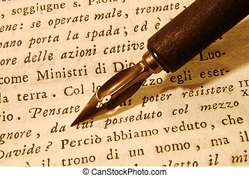 Nib (pen) over an old book - Nib (pen) over an very old...