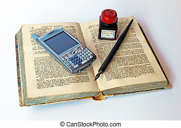 Cell phone, ink and old book
