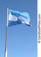 Flag of Argentina - The Argentine Flag on blue sky
