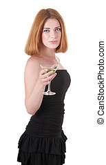 Woman in black dress with a drink