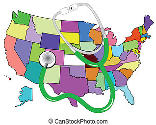 stethescope and map of america - colorful map of america and...