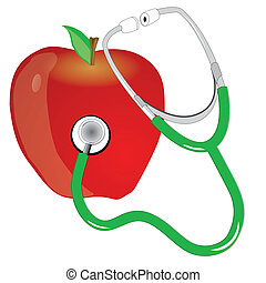 stethescope and apple - stethescope and the red apple