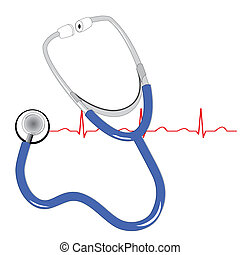 stethescope and heart beat  - stethescope and the ecg