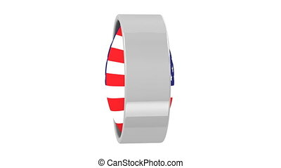 American Flag - American flag with circular frame. Part of a...