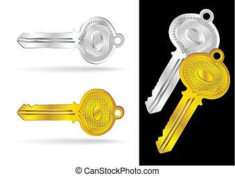 Vintage Gold and Silver Keys