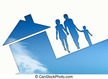 Eco house metaphor. House with sky - Eco house metaphor....