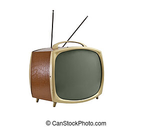 Old Portable Television with Brown Vinyl Side