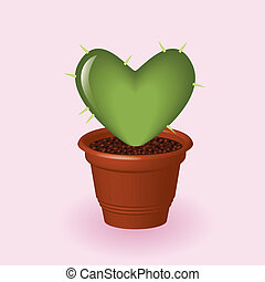 heart cactus - heart shapped cactus in flowerpot