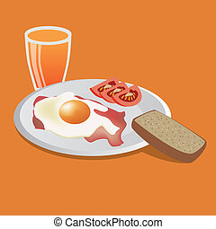 tasty breakfast - big tasty breakfast - fried egg, bacon,...