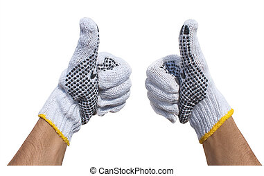 Hands in fabric protective gloves showing ok isolated on a...
