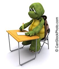 tortoise sat at school desk - 3D render of tortoise sat at...