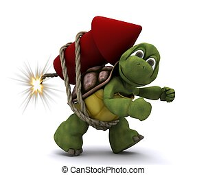 Tortoise lighting a firework - 3d render of Tortoise...