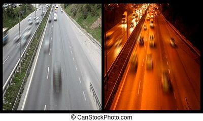 night and day freeway traffic - montage traffic in the city