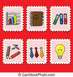 business stamps - stamps collection - business set