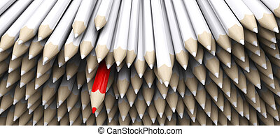 white pencil crayons with stand out red pencil