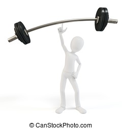 3d man easy lifting heavy barbell on white background