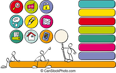 funny butons for children websites - color icons and...