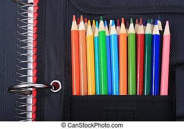 School and art supplies - Colorful sharpened pencil crayons...