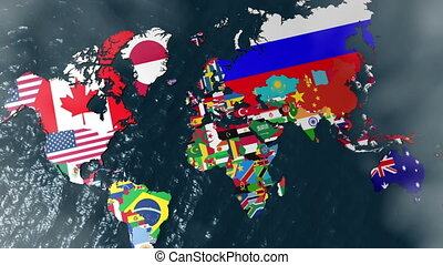 Australia 3D Flag World with Clouds - Australia 3D Flag...