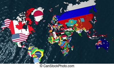 Australia 3D Flag World No Clouds - Zoom from Wide of World...